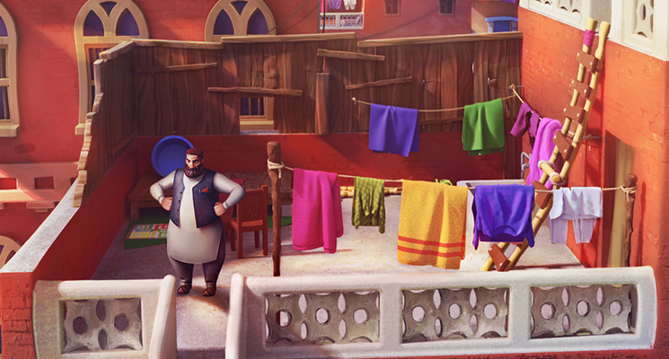 BRIGHT AND COLOURFUL ANIMATED CITYSCAPE, MAN DOING LAUNDRY PAKISTAN