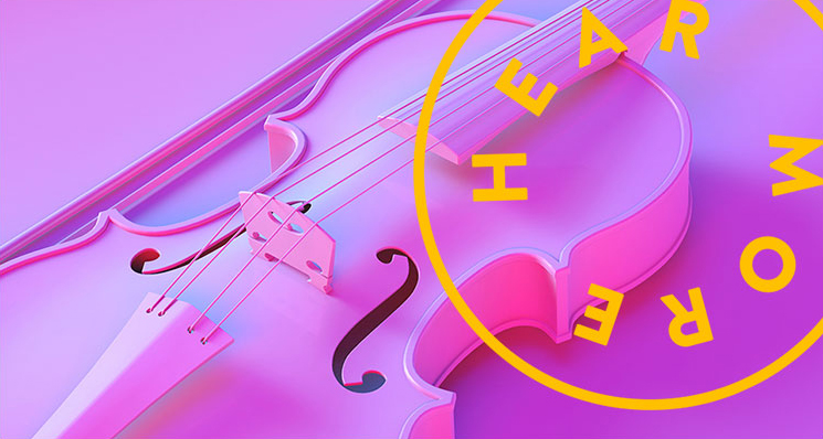 purple background with violin and yellow sticker reading hear more music