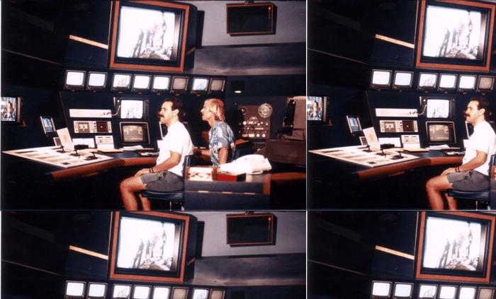 Two men edit a TV commercial