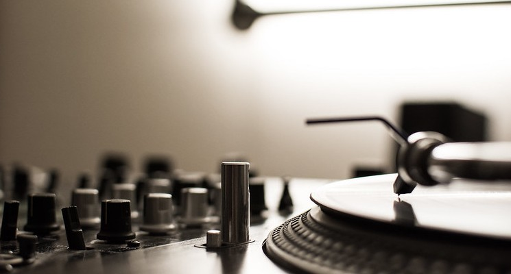 mixing deck stock image pixlr black and white close up spinning records
