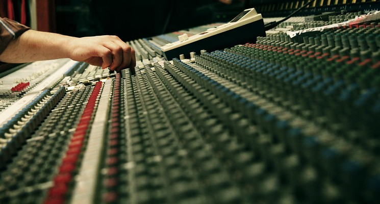 mixing board stock image