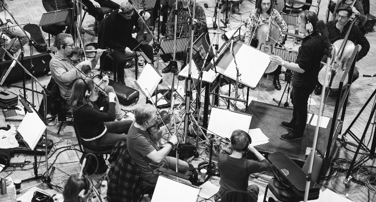 Movie Compoer recording at Abbey Road Studios in Black and White image