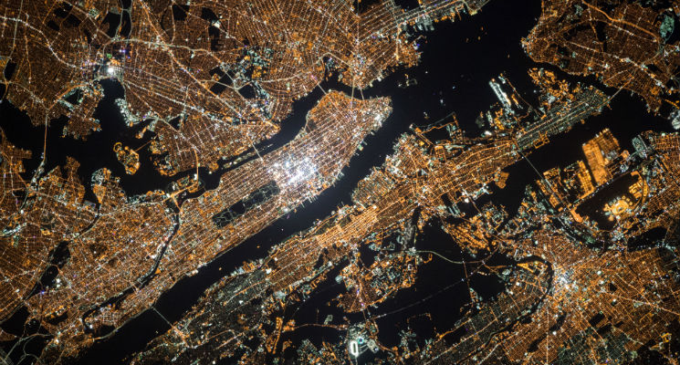 Aerial shot of city lights at nighttime