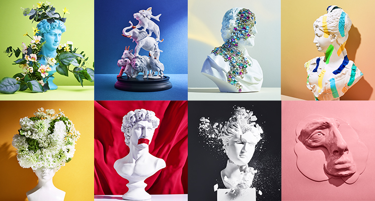 A collage of stone busts on multi-coloured backgrounds