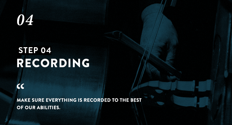Teal blue image close up image of a cello being played with white text 'step 04 Recording' and a quote about Mark Petrie's recording process below