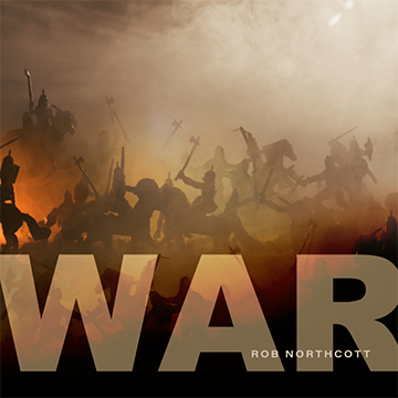 A war scene depicted in orange and yellow tones with text 'War'