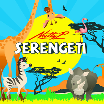 Cartoon wild animals with 'Serengeti' text