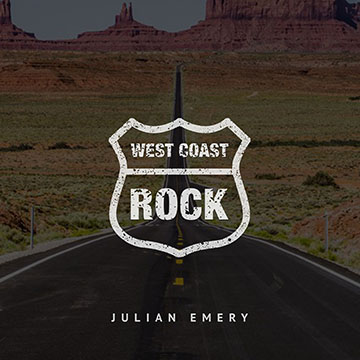 'West Coast Rock' emblem overlaid on a large American highway