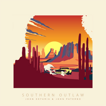 A desert-scape with a car in cartoon form speeding into the distance
