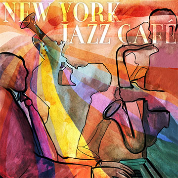 new york jazz cafe harry the piano illustrated figures playing saxophone and trumpet over colllaged background of warm colours