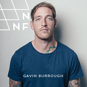 gavin burrough wearing blue t shirt plain backdrop nnf release burn