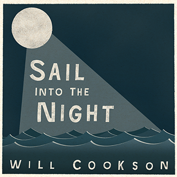a cartoon sea in teal with a circular moon and text reading 'Sail Into The Night'
