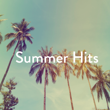 palm trees with white text, 'Summer Hits'