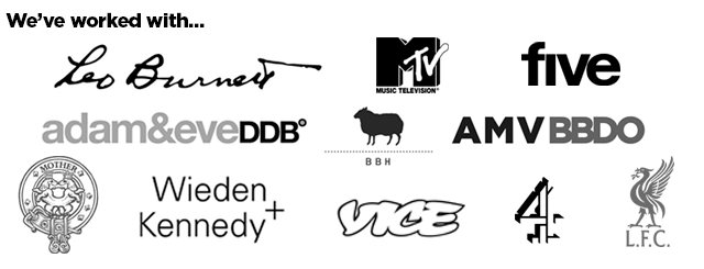 Footer list of client logos of creative and advertising brands and agencies